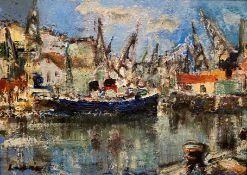 At Harbour signed oil by Hamish Lawrie, Scottish 1919 – 1987