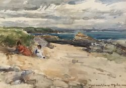 Playing in the dunes watercolour by Scottish artist John Maclauchlan Milne 1886-1957 A.R.S.A, R.S.A