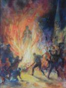 """Alexander Muir (Dundee artist) Watercolour """"bonfire night"""""""