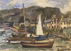 Plockton – Pulling up the Boat watercolour by Scottish artist Robert Hardie Condie RSW 1898-1981