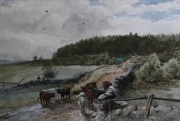 Original signed watercolour by Scottish artist John Smart R.S.A ,R.S.W 1838 -1899 - Cattle drovers