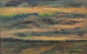 "Zander, Walter, ""Sonnenuntergang"", Aquarell auf Hartfaserstrukturseite, sign. dat 1956,ca. 26 x 38"