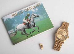 Herrenarmbanduhr, Rolex Datejust, Automatik, Gelbgold 750, Ref. 16018, Werk-Kaliber 3035,