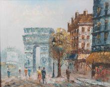 """Monogramist, CPA, wohl 1950/60er Jahre, """"Ansicht in Paris"""". Ca. 40 x 50 cm."""