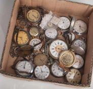 Konvolut von diversen alten Taschenuhren (19 Stück) plus div. Uhrenketten, versch.Materalien,
