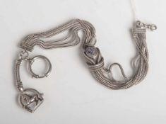 Uhrenkette (Charivari, 19. Jahrhundert), Silber, L. ca. 36 cm, Gewicht ca. 63 g. Email