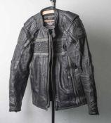 Herren-Motorradjacke, Harley Davidson, Genuine Motor Clothes. Schwarzes Glattleder,Netzfutter mit
