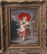 Patek, L. (19. Jahrhundert), Junge Blumenverkäuferin im Regen mit rotem Regenschirm,Öl/Holz, li.