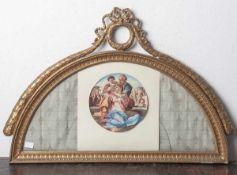 Wandvitrine für einen antiken Fächer im Stil des Biedermeiers, wohl um 1900, halbrundverglast,
