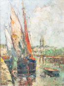 """Unbekannter Künstler (20. Jahrhundert), """"Quimper"""", Öl/Lw., Hafenansicht mit Stadtkulisseim"""