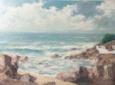 Ladwig, Roland (1935-2014), Südfranzösische Küste bei Antibes, 1967, Öl/Lw, Lw aufSperrholzplatte