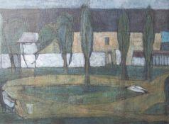 Unbekannter Maler (20. Jahrhundert), Allee mit Teich und figürlicher Staffage, imHintergrund