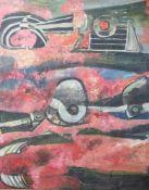 "Dohnal, Josef (geboren 1912), ""Bruchteile"", Öl/Lw., re. u. sign. u. dat. (19)76, rs.sign., dat.,"