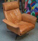 Retro-Design-Sessel, 1970er Jahre, rehbraunes Leder.