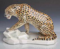 Leopard auf Sockel (Keramikfigur, 1920er Jahre), US Hersteller bez. Sontag & Söhne(Geiersthal), im
