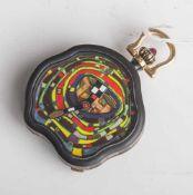 Hundertwasser-Taschenuhr, Werk 980, Handaufzug, 750/000 GG, Nr. 52/999 auf Platine bez.,teilweise