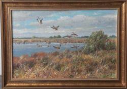"""Laube, Fritz (1914-1993), Enten im Flug über einen See, Öl/Lw, re. u. sign. """"F. Laube"""".Ca. 31 x 45"""