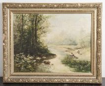 Unbekannter Künstler (20. Jahrhundert), Schilfsammler am Flußufer, Öl/Lw. Ca. 56 x 73 cm,gerahmt.