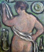 Kunitzer, Friedrich (1907 - 1998), weiblicher Rückenakt m. weissem Tuch, Öl/Lw, rechtsoben sign.