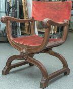 Schreibtischstuhl, sogenannter Scherenstuhl, Historismus, 19. Jahrhundert, Eichenholzgeschnitzt,
