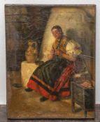 Müller, Leopold Carl (1834-1892), junges Mädchen vor einem gemauerten Ofen auf einer Banksitzend,
