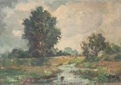 Ringleb, A. (19./20. Jahrhundert), Sommerliche Flußlandschaft bei aufkommendem Gewitter,Öl/