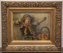 Unbekannter Maler (20. Jahrhundert), Gähnender Junge mit Apfelkorb, Öl/Malkarton, li. u.unleserl.