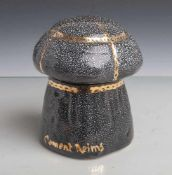 """Deckelgefäß """"Clement Reims"""", wohl 1970er Jahre, Keramik, schwarzer Fond mit weißenSprenkel u."""