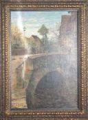 Franke, H. (19./20. Jahrhundert), Dorfansicht mit Steinbrücke über einen Bach. Öl/Lw., li.u. sign.