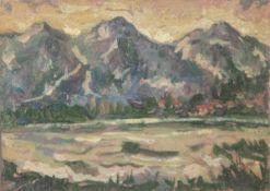 Unbekannter Künstler (19./20. Jahrhundert), impressionistisch gemalte Gebirgslandschaft,Öl/Malpappe,