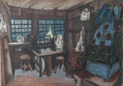 Federlin, Kurt (1912-1986), Bäuerliches Interieur, Öl/Papier, re. u. sign. und dat.(19)52, ca. 51