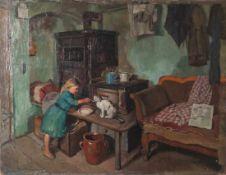 Klimsch, Hermann Anton (1867-1960), Stubeninterieur mit kleinem Mädchen und Katze, Öl/Lw,links u.