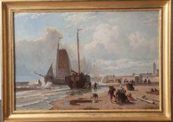 Starkenborgh, Jacobus Nicolas van (1822-1895), Belebte Strandszenerie mit Fischerbooten,Öl/Holz, re.