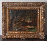 Unbekannter Maler, Waldlandschaft mit Teich, darauf ein Fischerboot u. ein Angler am Ufer,Öl/