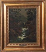 "Saabye, Carl Anton (1807-1878), Wasserfall, Öl/Holz, mittig u. sign. ""Saabye"". Ca. 30,5 x24,5 cm,"
