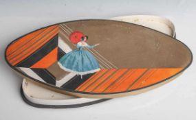 Pralinenschachtel, Pappe, polychrom bedruckt, ovale Form. Ca. 38 x 18,5 cm, teilw.beschädigt.
