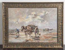 Waterman, C. (20. Jahrhundert), Krabbenfischer mit Booten und Fuhrwerken, Öl/Holzplatte,li. unten