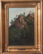 """Storch, Frederik Ludwig (1805-1883), Von dichtem Baumbestand umrahmte Felsen, Öl/Lw, re.u. sign. """""""