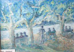 "Tuttas, Carl (1913-1997), ""Eltville Rheinpromenade"", Öl/Malpappe, re. u. sign. Ca. 49 x 69cm,"