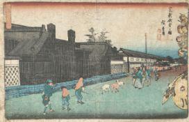 Unbekannter Künstler (Japan), Straßenszene, Farbholzschnitt, mehrfach bez., ca. 24 x 35,5cm. Alte