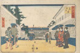 Unbekannter Künstler (Japan), Straßenszene, Farbholzschnitt, mehrfach bez., ca. 25,5 x37,5 cm.