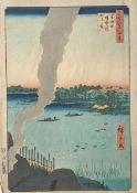 Unbekannter Künstler, Farbholzschnitt (Japan), Hiroshige 1857, Töpferofen, Blattgröße ca.37 x 25 cm.