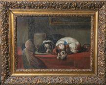 Unbekannter Künstler (wohl England, 19. Jahrhundert), 2 King-Charles-Spaniels,Öl/Pressholz, re. u.