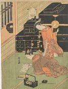 Unbekannter Künstler (Japan), zwei Damen, Farbholzschnitt, bez., rs. Stempel, ca. 28,5 x21,5 cm.