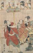Toyokuni ga (wohl), drei Straßenmusikanten und Gaukler, Farbholzschnitt (Japan), sign.Toyokuni ga,