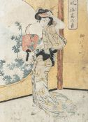Unbekannter Künstler (wohl Eizan), Farbholzschnitt (Japan), ca. 35 x 25,3 cm.