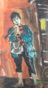 Unbekannter Künstler (20. Jahrhundert), Flötenspieler, Aquarell/Papier, ca. 56,5 x 31 cm,PP,