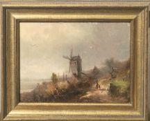 Unbekannter Künstler (wohl 19. Jahrhundert), Bauernfrau auf Heimweg, romantische Ansichtauf die