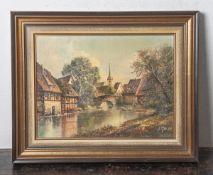 Glassl, Helmut (geb. 1930), Ansicht einer idyllischen südländischen Kleinstadt, Öl/Lw.,re. u.