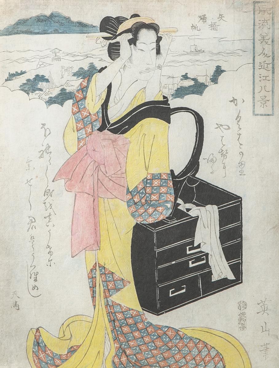 Lot 43 - Eizan (Japan), schöne Frau am Fluss, Farbholzschnitt, ca. 36,5 x 25,3 cm. Blatt imaltersgem.